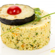 Stock Photo: Couscous urashen tomato and aubergine on white plate