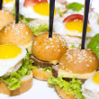 Canape with meat vegetables and eggs — Stock Photo