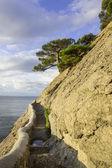 Letní den krajinu s mořem a horami — Stock fotografie