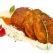 Cutlets fried in carrot sauce with mashed potatoes — Lizenzfreies Foto
