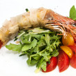 Jumbo shrimp with herbs — Stock Photo