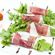 Stock Photo: Rolls with meat and greens