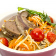 Braised lamb tongues with pasta and vegetables — Stock Photo
