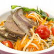 Braised lamb tongues with pasta and vegetables — Stockfoto