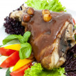 Stock Photo: Roasted pork knuckle with vegetables