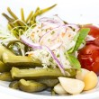 Stock Photo: Pickled vegetables, cucumber tomatoes asparagus and garlic cabbage