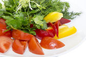 Plate with fresh vegetables — Stock Photo