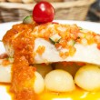 Baked fish with potatoes in tomato sauce — Stock Photo