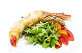 Jumbo shrimp with herbs and several types of tomatoes — Stock Photo
