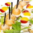 Canape with meat seafood and vegetables  — Stock Photo
