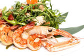 Shrimp salad greens vegetables and crayfish — Stock Photo