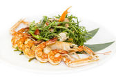 Shrimp salad greens vegetables and crayfish — Stock Photo