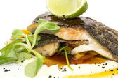 Baked fish with vegetables and mushrooms — Stock Photo