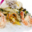 Warm salad of noodles and seafood  — Stock Photo