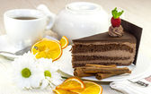 Dessert, a piece of cake on the table — Stok fotoğraf