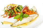 Baked fish with salad — Stock Photo