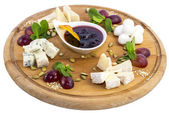 Cheese plate, with several kinds of cheese — Stock Photo