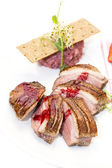 Goose breast grilled vegetable — Stock Photo