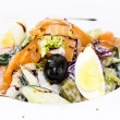 Seafood salad vegetables and eggs — Stock Photo #37842337