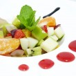 Fruit salad with ice cream — Stock Photo