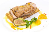 Goose breast cooked on griles tangerine sauce — Stock Photo