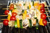 Vaření špízy plody moře — Stock fotografie