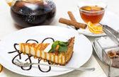 Pedaço de bolo de queijo — Fotografia Stock