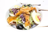 Seafood salad vegetables and eggs — Stock Photo
