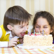 Have fun eating birthday cake — Stock Photo #40221537