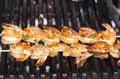 Cooking shrimp on the grill — Stock Photo