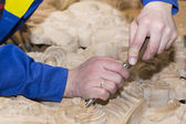 Gouge wood chisel carpenter tool working — Stock Photo