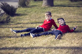 Boys on a walk in the park — Stock Photo
