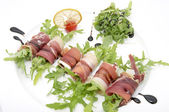 Rolls of meat and greens — Stock Photo