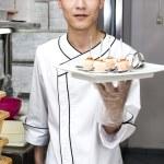 Japanese chef with sushi — Stock Photo #46217489