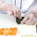 Japanese chef with sushi — Stock Photo #46217529
