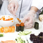 Japanese chef with sushi — Stock Photo #46217563