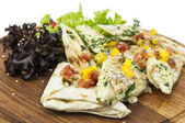Pita bread with vegetables — Stock Photo
