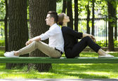 Young couple in the park — 图库照片