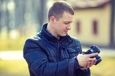 Man photographing nature — Stock Photo
