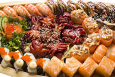 Japanese sushi fish and seafood — Stock Photo