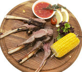 Lamb ribs cooked on the grill — Stock Photo