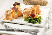 Fried fish rolls with herbs — Stock Photo