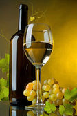 A glass of wine, bottle and grapes — Stock Photo