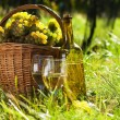 Basket full of grapes and wine - Stock Photo
