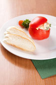 Tomatoes stuffed with spread of eggs and tuna — Stock fotografie