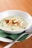Cabbage soup with cream with toasted sandwich — Stock Photo