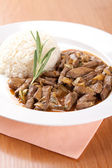 Pork liver with rosemary and rice — 图库照片