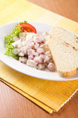 Cheese salad with ham and mayonnaise — Stock fotografie