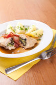 Pork with horseradish, sliced ham and mushrooms — Stock fotografie