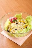 Excellent salad of sliced chicken with mushrooms — Foto de Stock